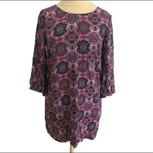 Boho Shift Dress Purple Paisley S - Daniel Rainn